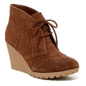 Mia Brown Suede Lace Up Wedge Bootie